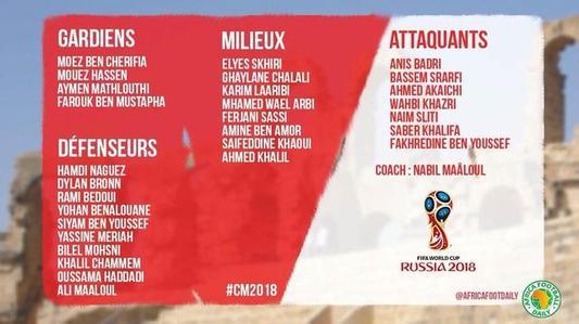 突尼斯23人名单出炉 快来看看都有谁