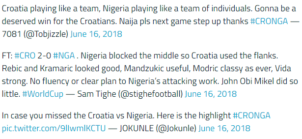 克罗地亚vs尼日利亚 两队悬殊较大