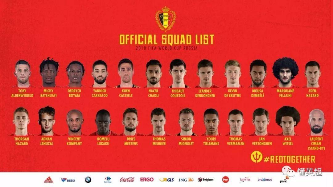 比利时世界杯名单出炉 配置豪华