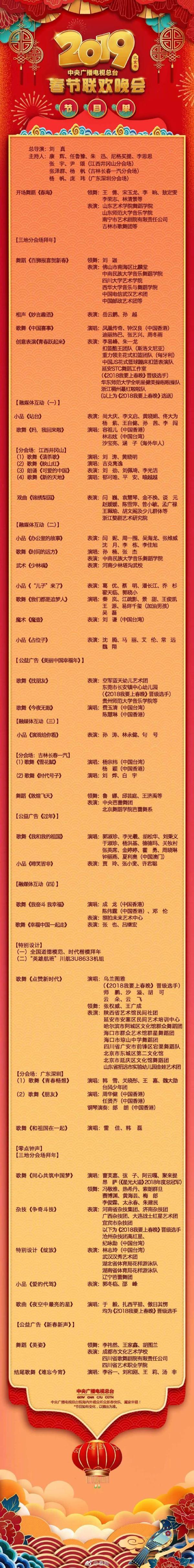 央视春晚节目单 都有哪些节目呢 具体内容