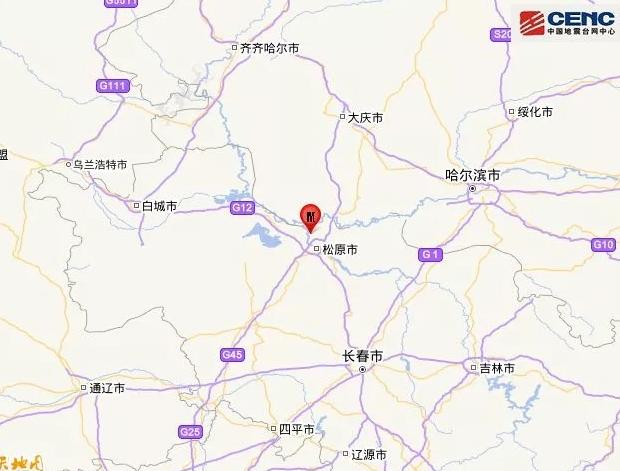 松原5.1級地震 震源深度10千米